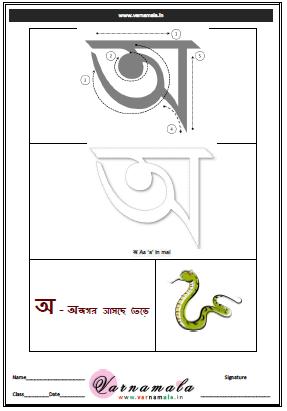 Download Bangla Letter অ (a) Drawing Worksheet