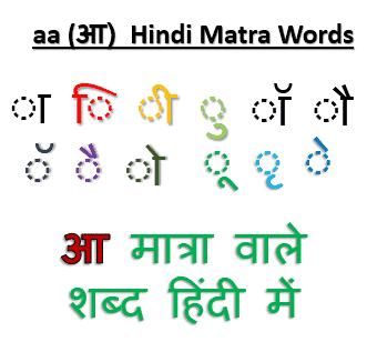 aa (आ) ki matra Wale Shabd: आ मात्रा वाले शब्द हिंदी में